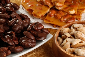Chocolate Covered Peanuts, Peanut Brittle and Blister Fried Peanuts