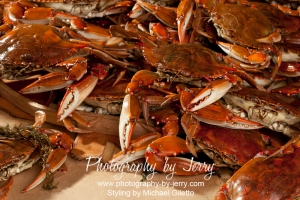 Food Photography Cooked Blue Crabs with Old Bay Seasoning