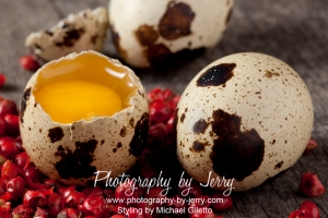 Food Photography Raw Quail Eggs and Red Peppercorns