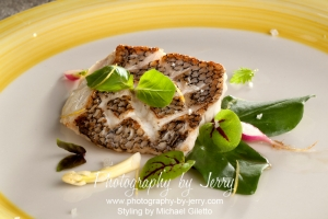 Food Photography Sea Bass Dinner On Greens
