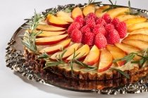 Peaches and Raspberries on a pineapple slice