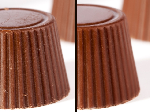 Comparing retouched and un-retouched chocolate
