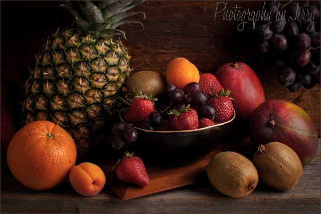 Still Life Fruit Bowl with Orange