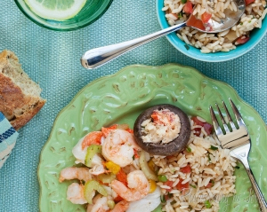 Top Down seafood Salad, rice and stuffed mushroom