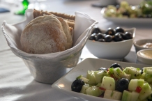 Bread, Olives and Cucumbers